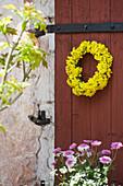 Wreath of yellow flwoers on red barn door
