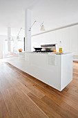 High-gloss, floating, minimalist kitchen island