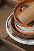 Stack of old ceramic bowls