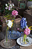 Ranunculus, hyacinths, Australian waxflowers and mimosa flowers in glass vases