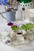 Violas, lady's mantle and egg shells in bowl of water