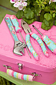 Pink, handmade, feminine tool box and tools with floral decoupage