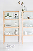 Crockery on pale wooden shelves with glass doors