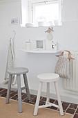 Small breakfast area in a white kitchen