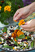 Hands plucking French marigold petals onto salad