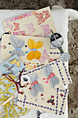 Paper tags pasted with butterflies made of paper or as a sticker