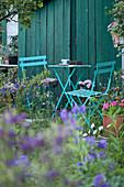 Turquoise garden furniture against petrol-blue board wall in flowering garden