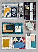Mood board with different fabrics, color patterns and materials