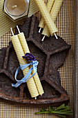 Rolled candles made of beeswax plates
