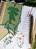 Collage mit botanischen Motiven und Einkaufsliste im Notizbuch