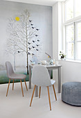 Winter mural with trees in the dining room in shades of gray