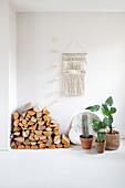 Holzlager und Zimmerpflanzen auf weißem Boden, darüber Makramee an der Wand