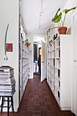Custom-made bookshelves in the hallway