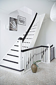 White stairs with black accents
