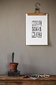 A DIY linoleum print as wall decoration