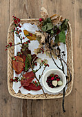 Basket with autumn leaves, twigs, and berries from the forest