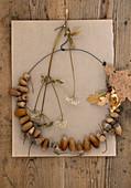 DIY wreath made from acorns