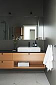 Vanity unit with granite top and porcelain countertop basin