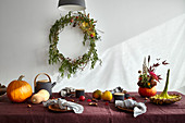 Set table with autumn decoration