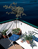 Garden furniture and plants on the terrace of a houseboat