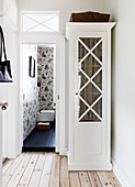 Showcase cabinet next to the open bathroom door with skylight