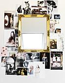 Bilder-Collage um einen Goldrahmenspiegel