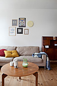 Sand-colored couch and coffee table in the living room
