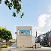 Modern architect-designed house with large horizontal window