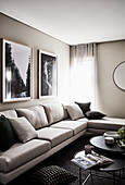 Elegant sofa and set of coffee tables in living room