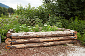 Herbs in rustic raised bed made from tree trunks