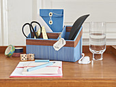 DIY desk organiser decorated with edging strip