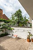 Terrace and plants on masonry terrace