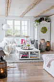 Autumnal decorations in shabby-chic style in bright living room