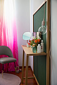 Dressing table with back panel n mid-century style in bedroom