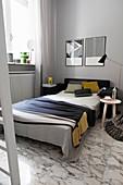 Sofa bed in studio apartment