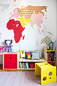 Colourful child's bedroom with DIY map of the world decorating wall