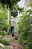 Older lady walking through garden gate and hens in cottage garden