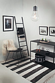 Chair and shelving in black-and-white interior