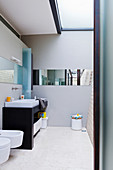 Minimalist bathroom with skylight and horizontal mirror in architect-designed house