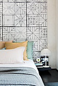 Bed headboard with graphic patterns