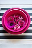 Blüten in pinkfarbener Schale mit Wasser