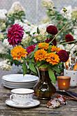 Summer bouquet of coneflowers and dahlias