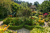 Knot garden with blooming daylilies