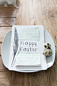 Napkin in paper bag with Easter greeting and painted feather