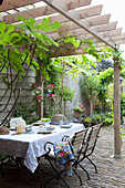 Table set with blue-and-white crockery on terrace with pergola