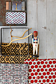 Mood board of various fabrics, patterns and materials
