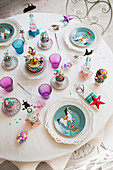 Circus-themed table set for children's birthday party