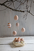 Easter arrangement of painted hens' eggs in nest and hung from branches