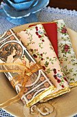 Chocolate bars wrapped in decorative wrapping paper