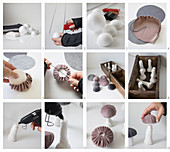 Instructions for making fabric mushrooms with velvet caps in wooden box
